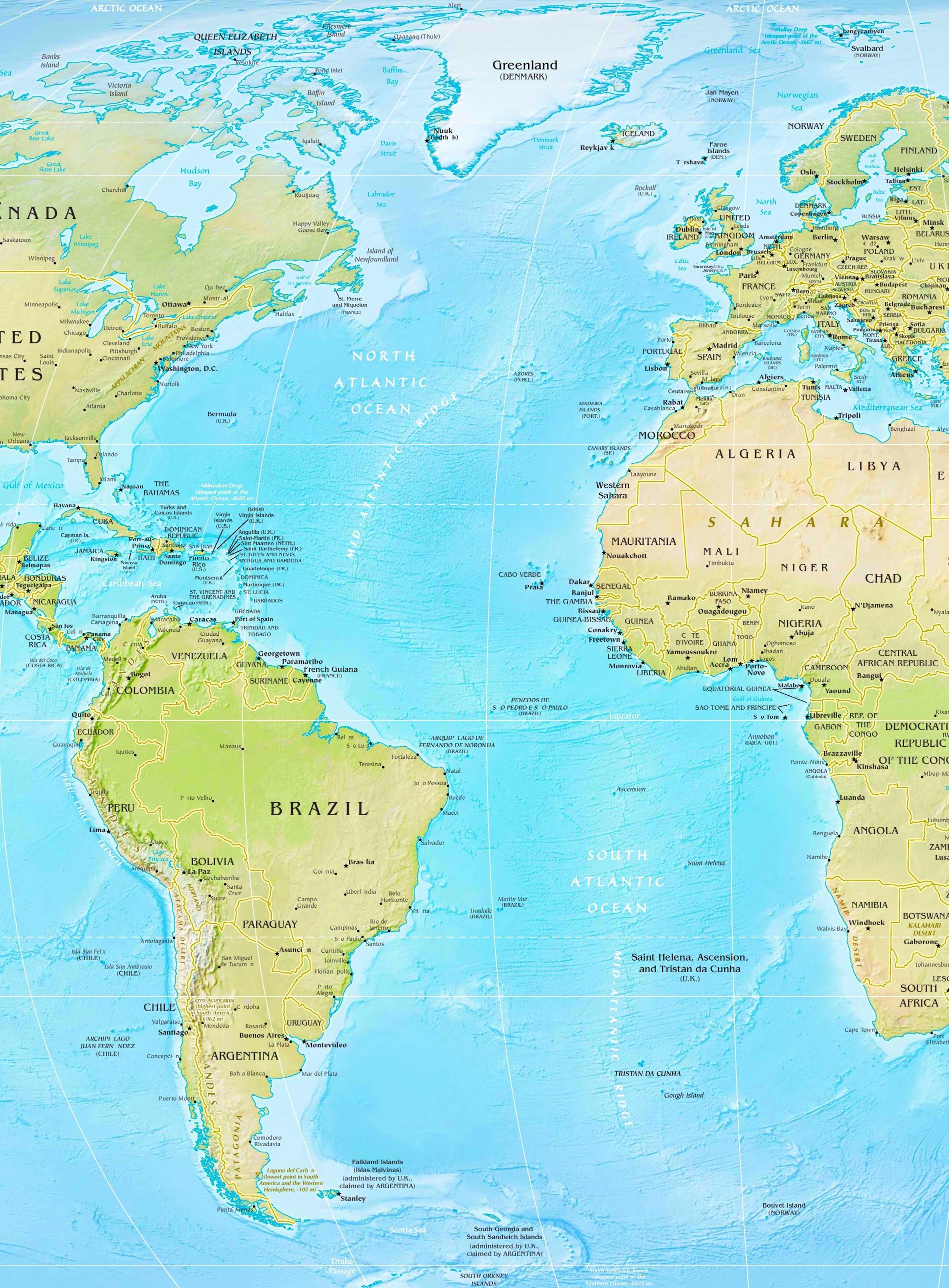 Atlantic Ocean Physical Map