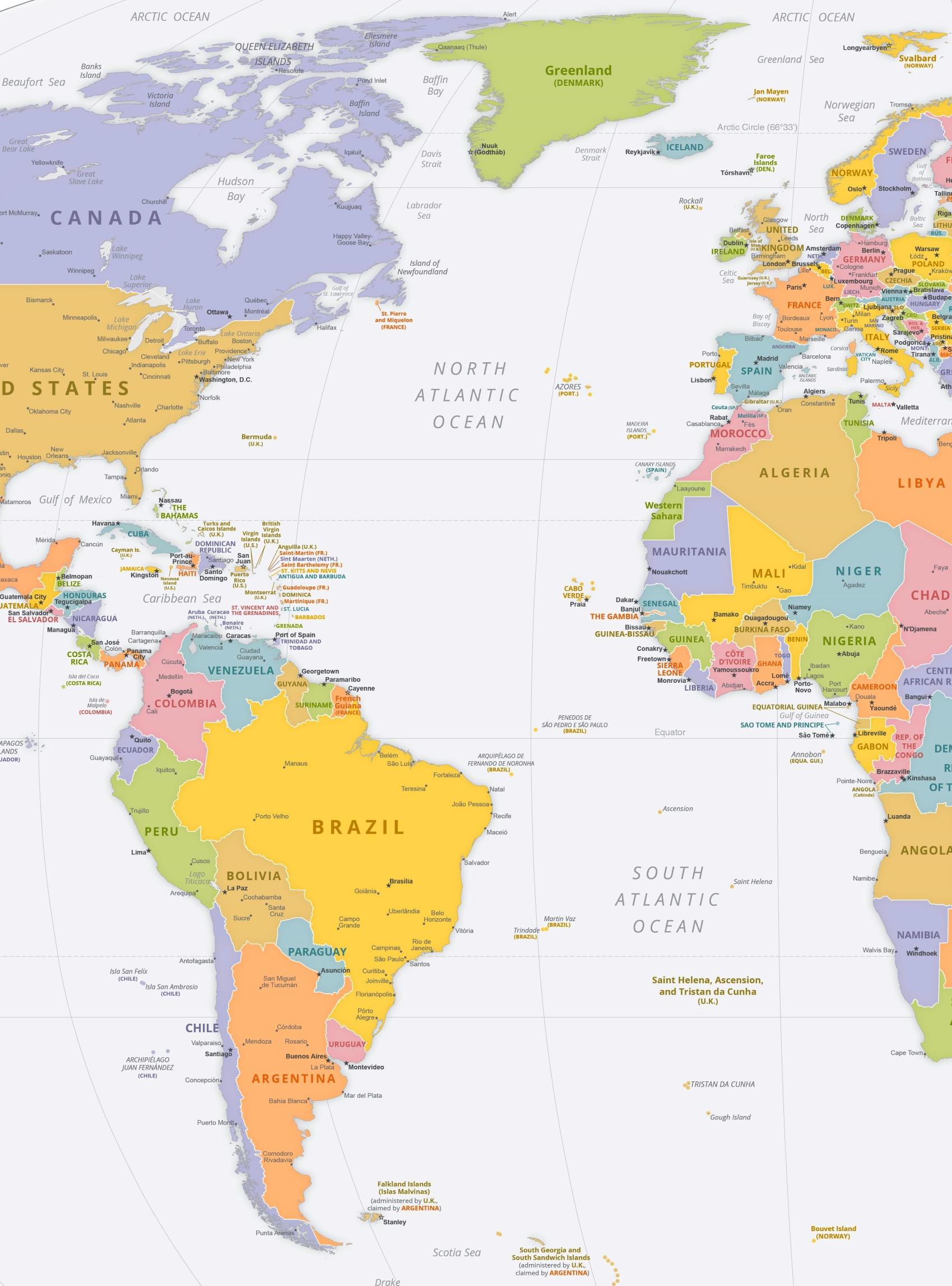Atlantic Ocean Political Map