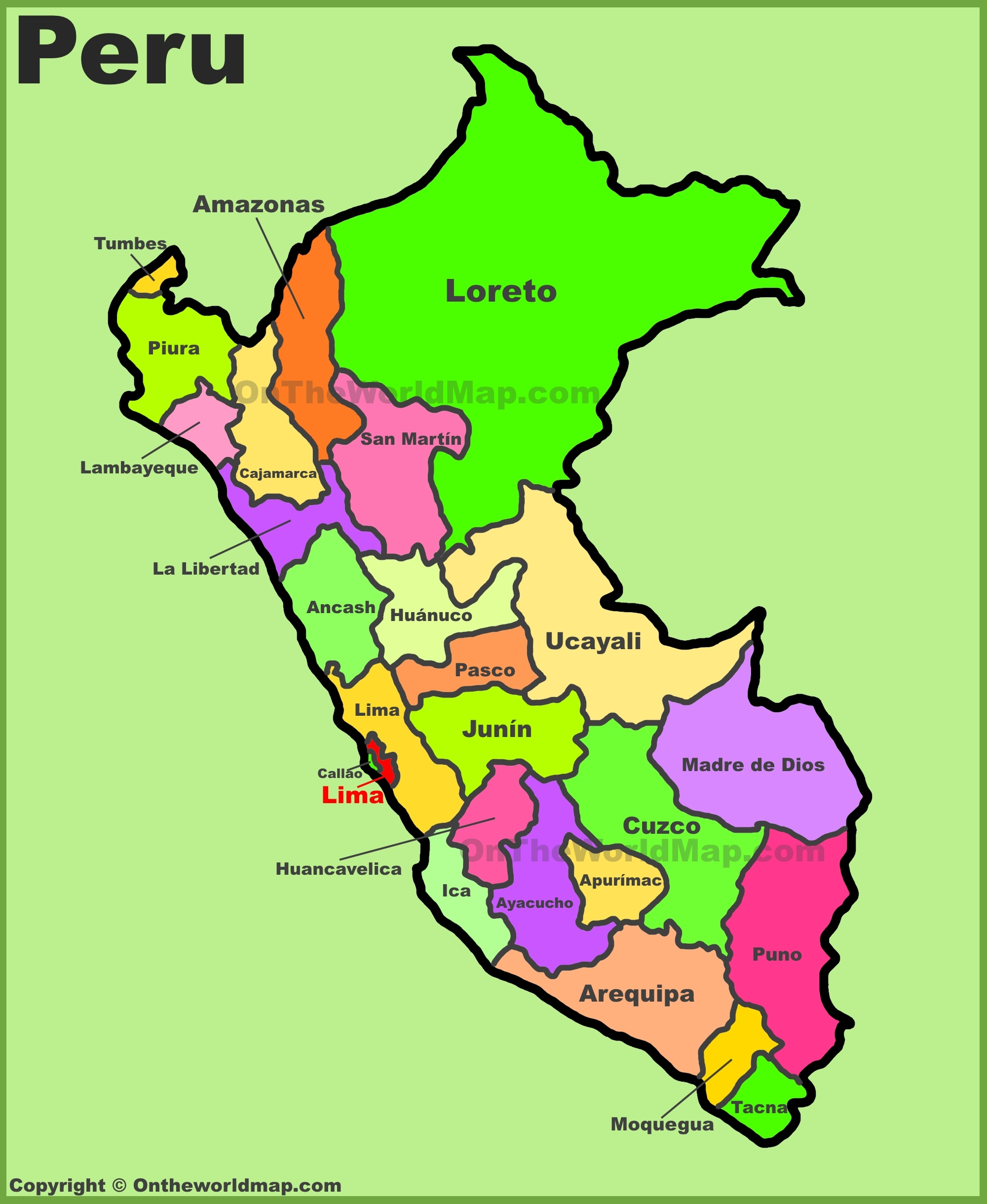 Peru Map Coloring Pages