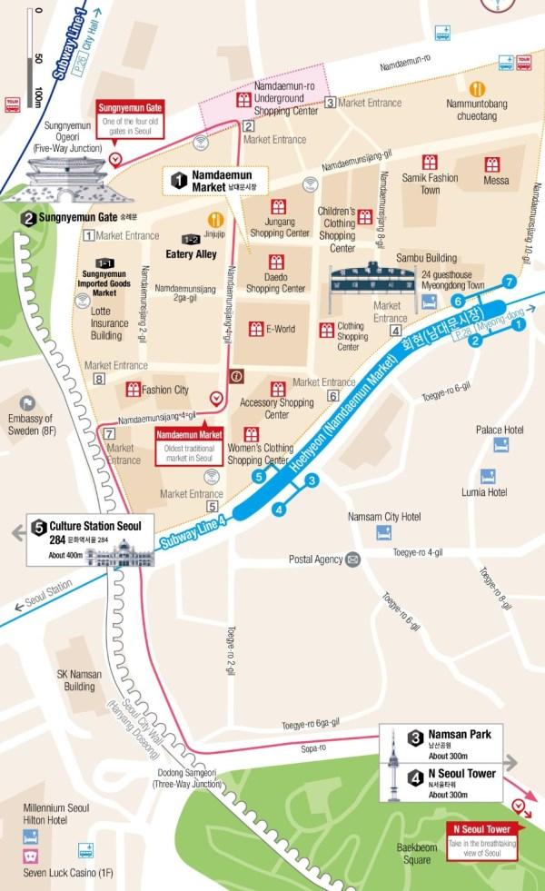 Namdaemun Market and Namsan Mountain map