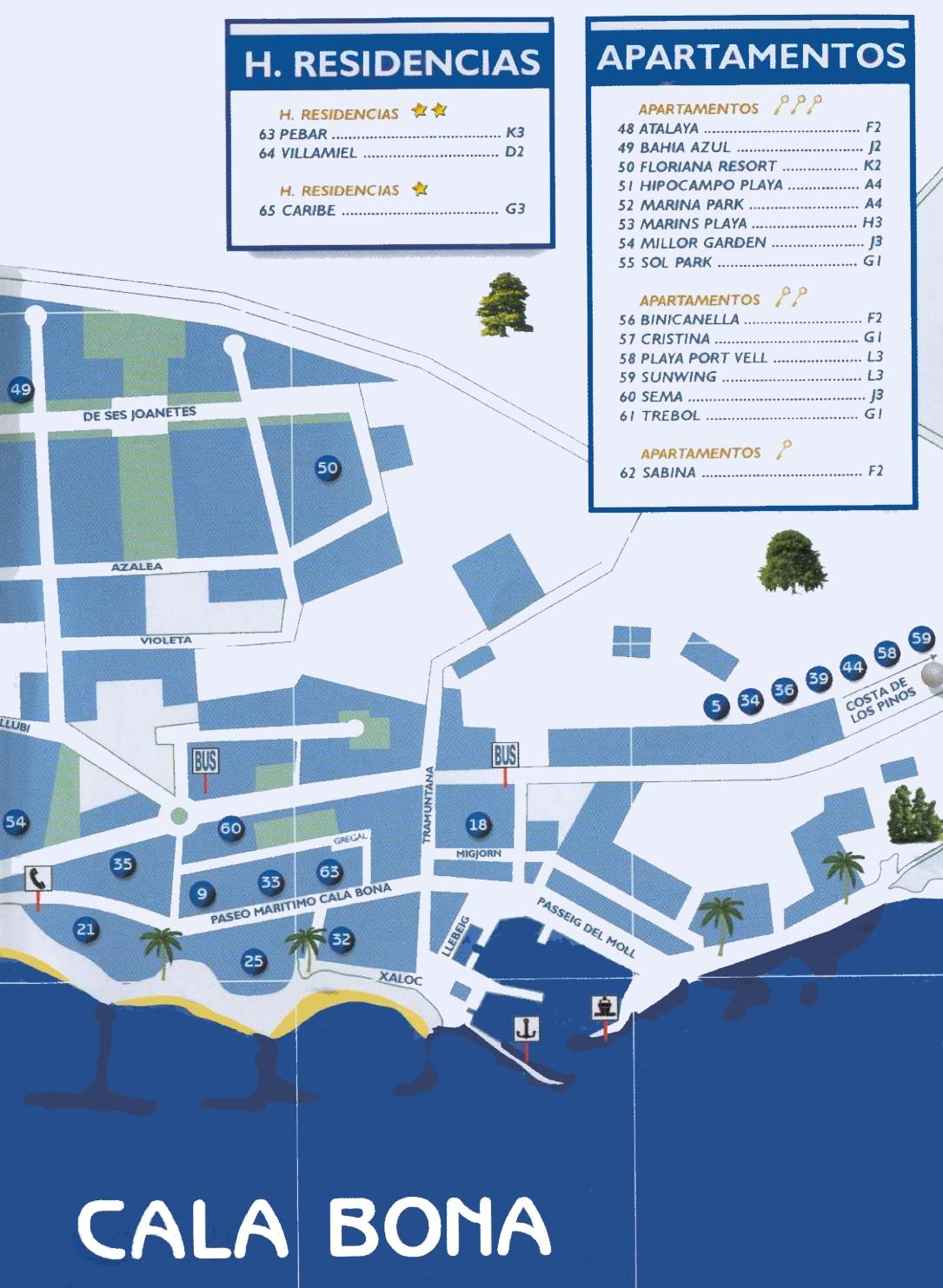 Cala Bona tourist map