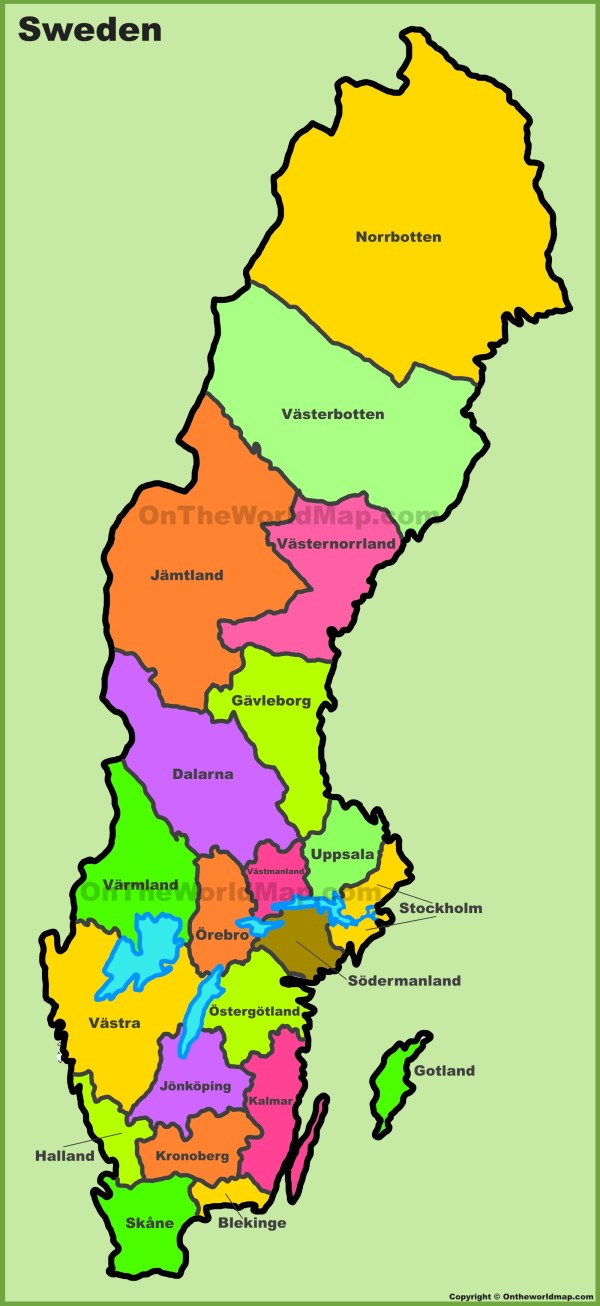 Administrative divisions map of Sweden