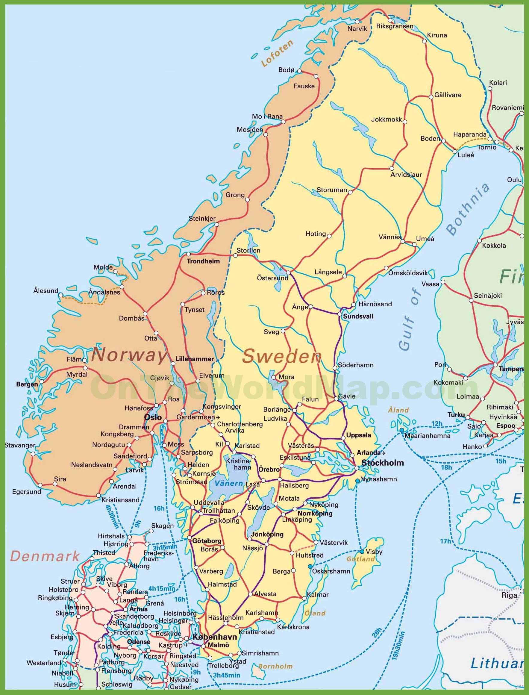 Denmark Sweden Map Afp Cv