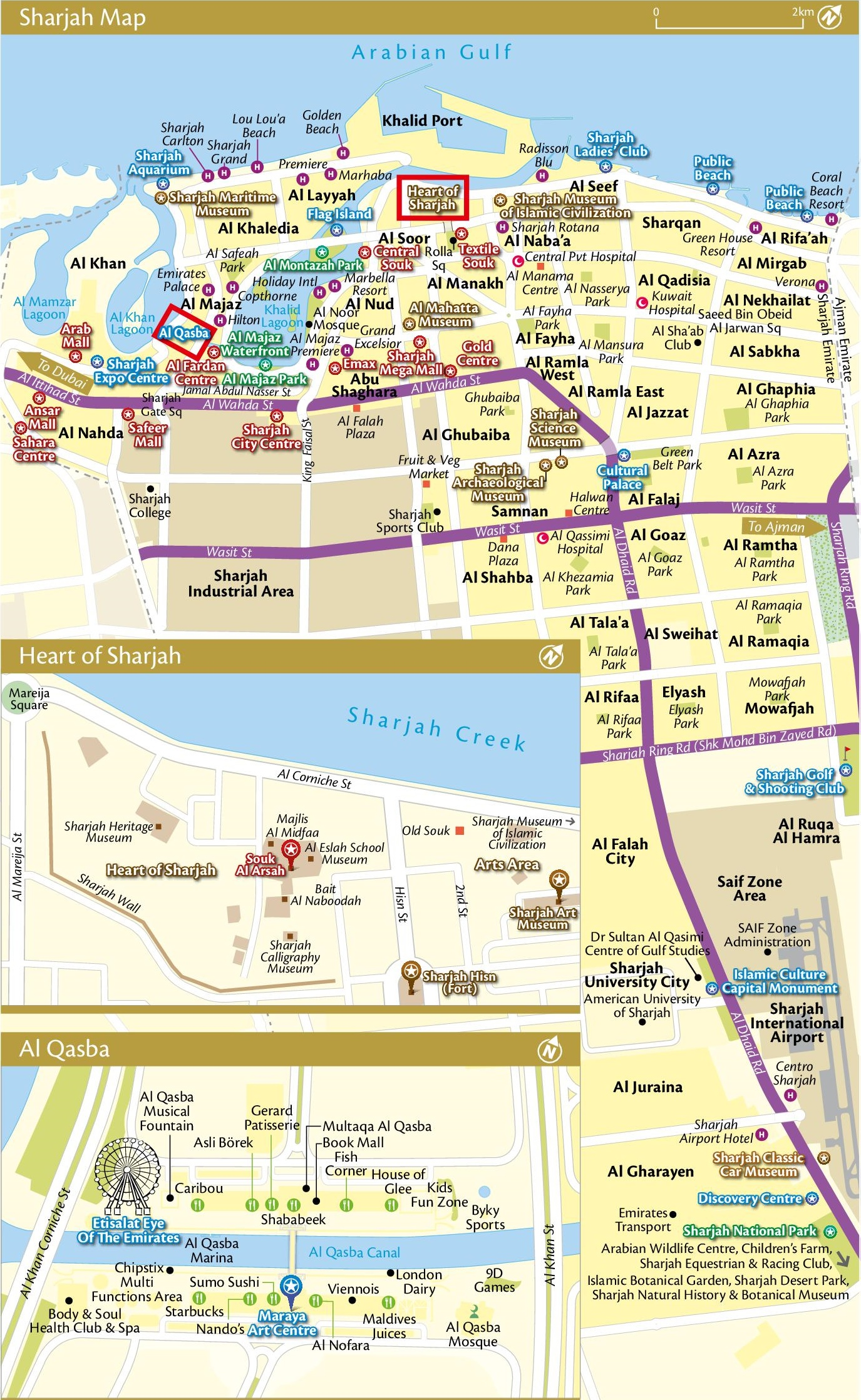 Sharjah City Hotels And Tourist Attractions Map