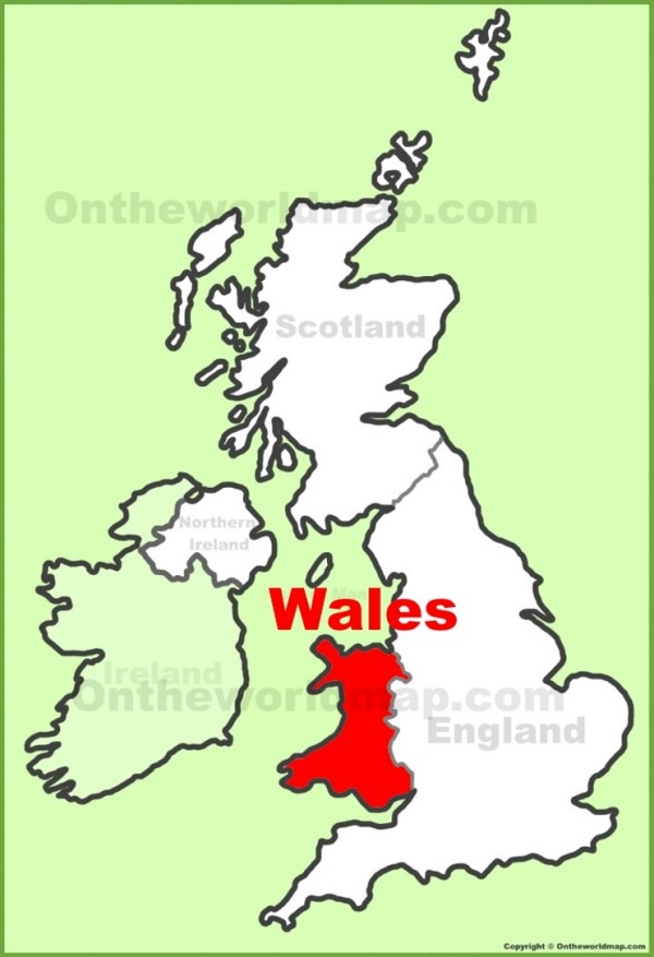 Wales location on the UK Map