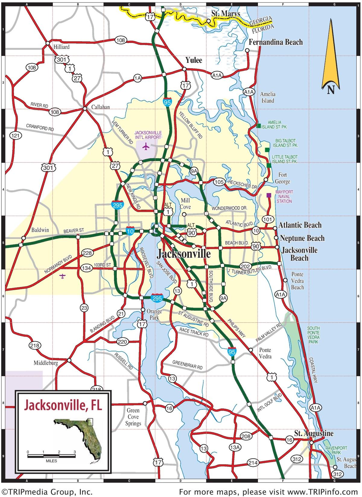 Jacksonville area road map