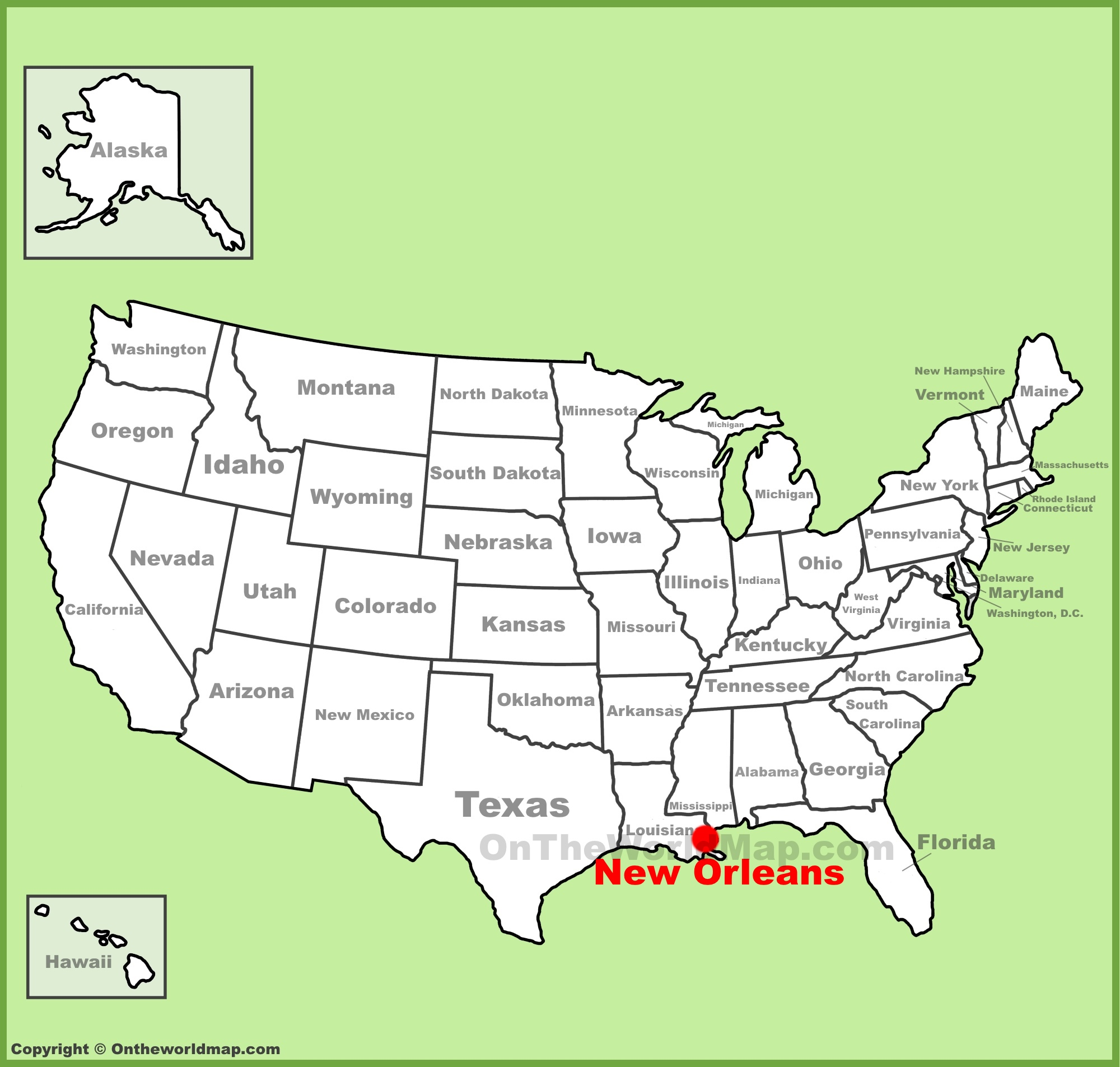 Area of new orleans city. New Orleans Location On The U S Map