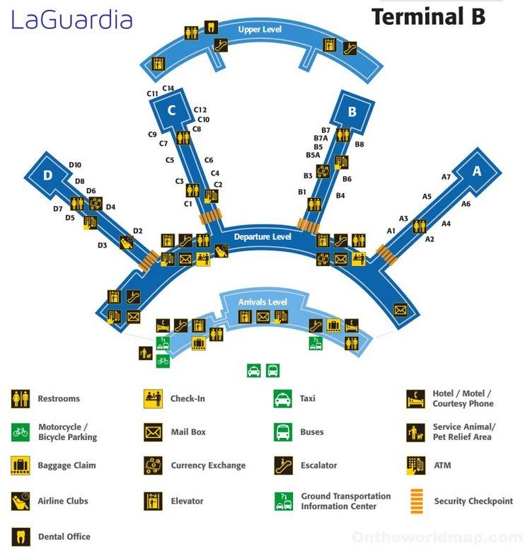 LaGuardia Airport Terminal B Map