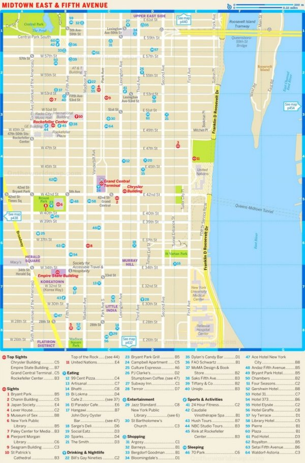 Map of Midtown East and Fifth Avenue