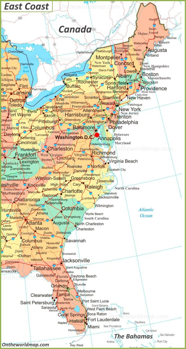 Map of East Coast of the United States