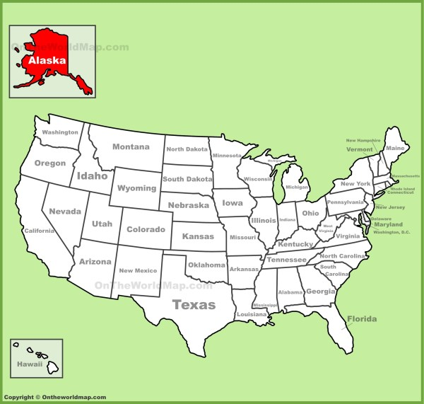 Alaska location on the US Map