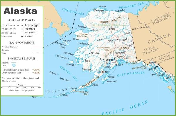 Alaska road and railroad map