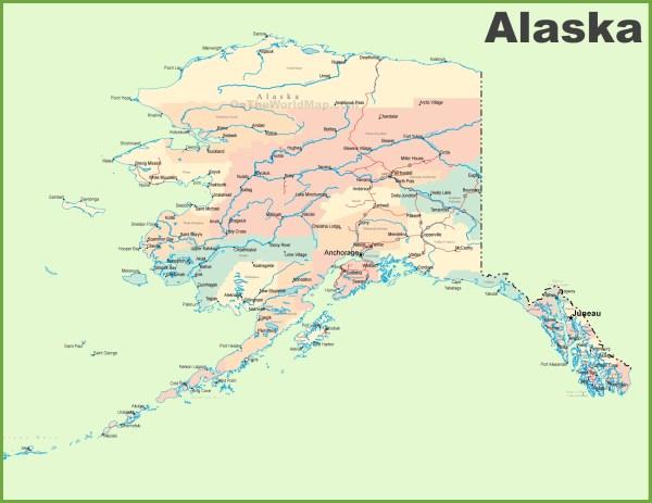 Large detailed map of Alaska