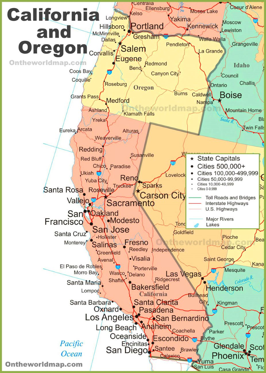 Map Of Southern Oregon And Northern California : southern, oregon, northern, california, California, Oregon