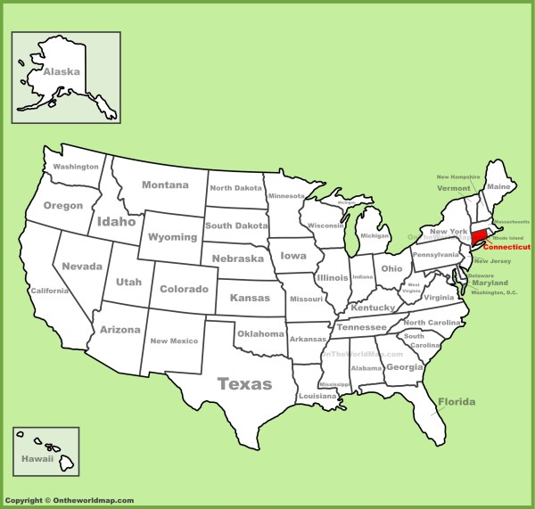 Connecticut location on the US Map