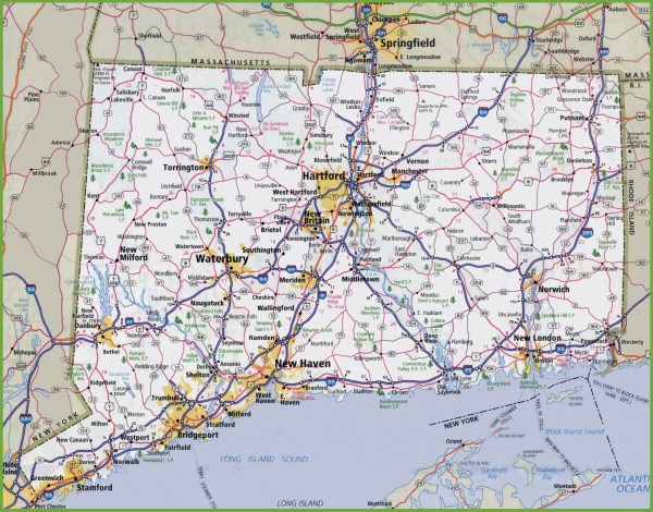 Large detailed map of Connecticut with cities and towns