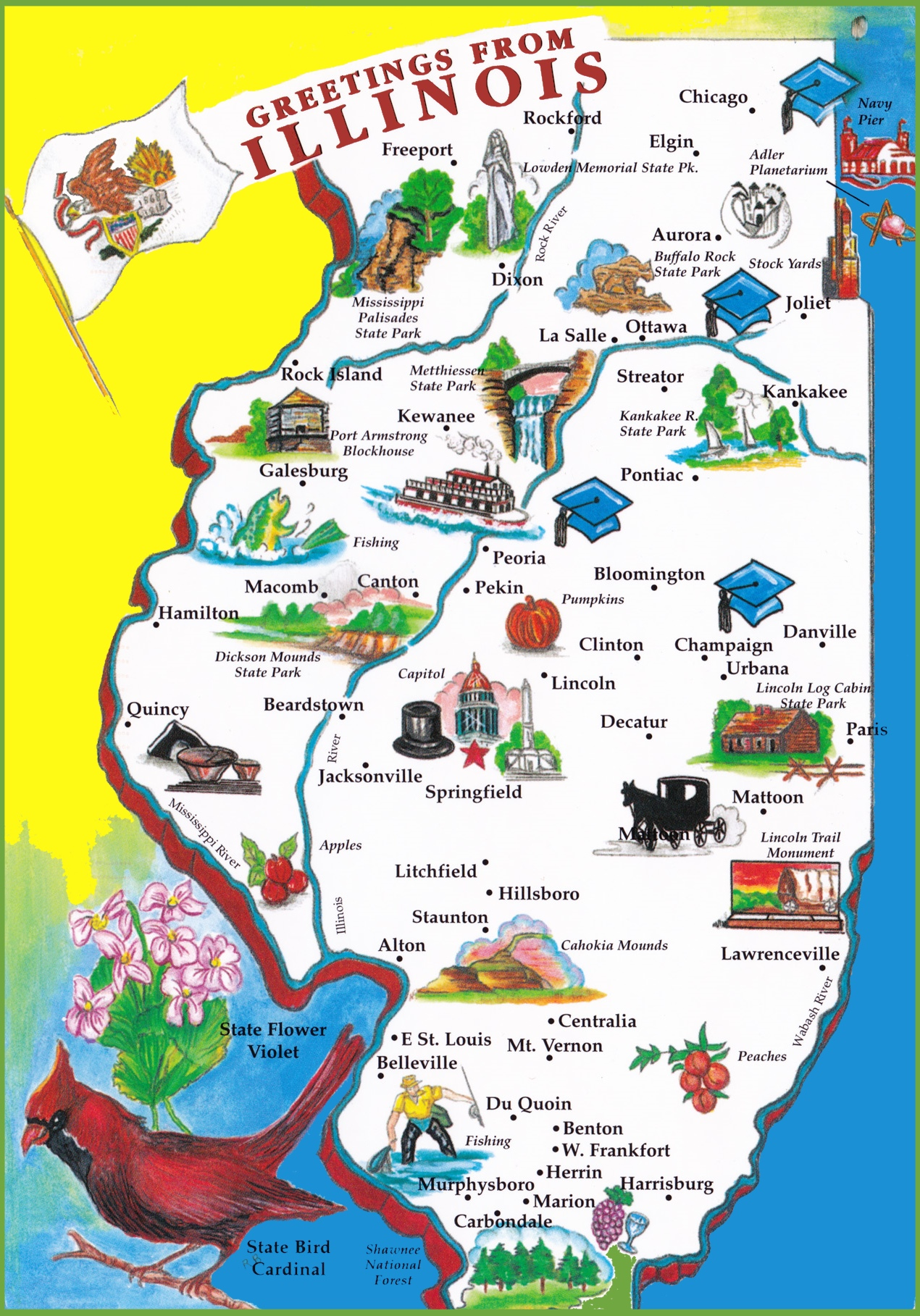 Pictorial Travel Map Of Illinois