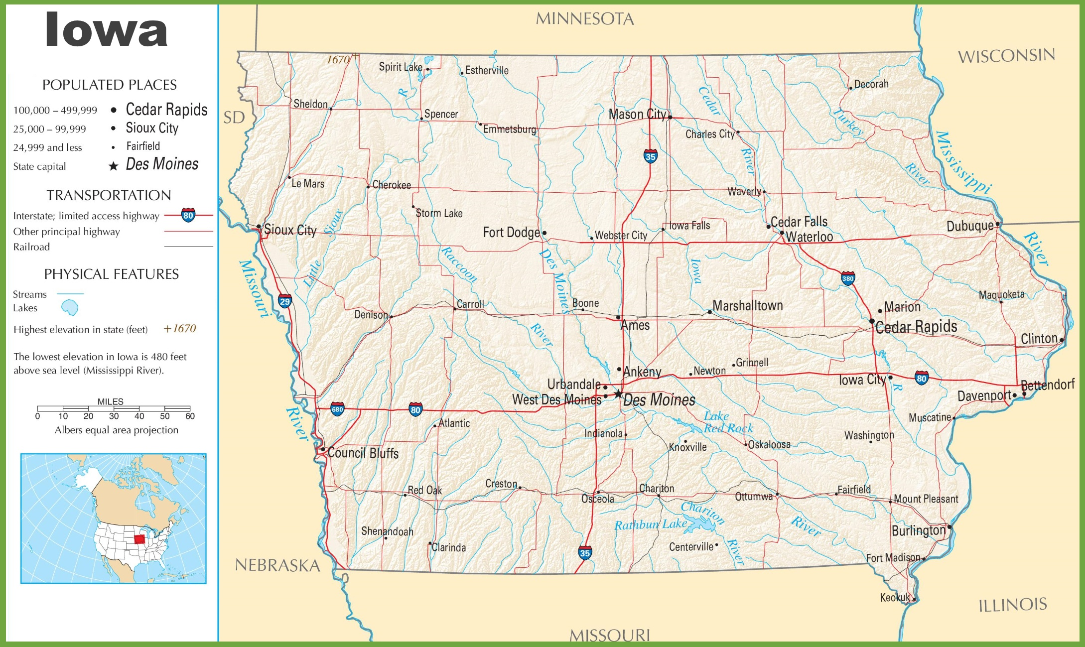 Iowa Road Map With Cities