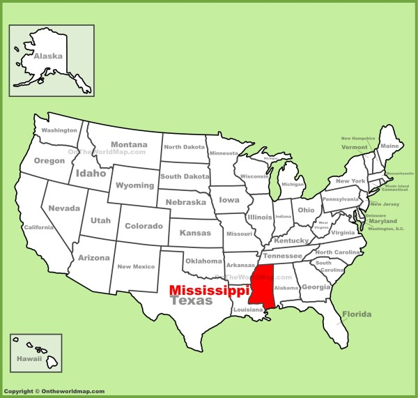 Mississippi location on the US Map