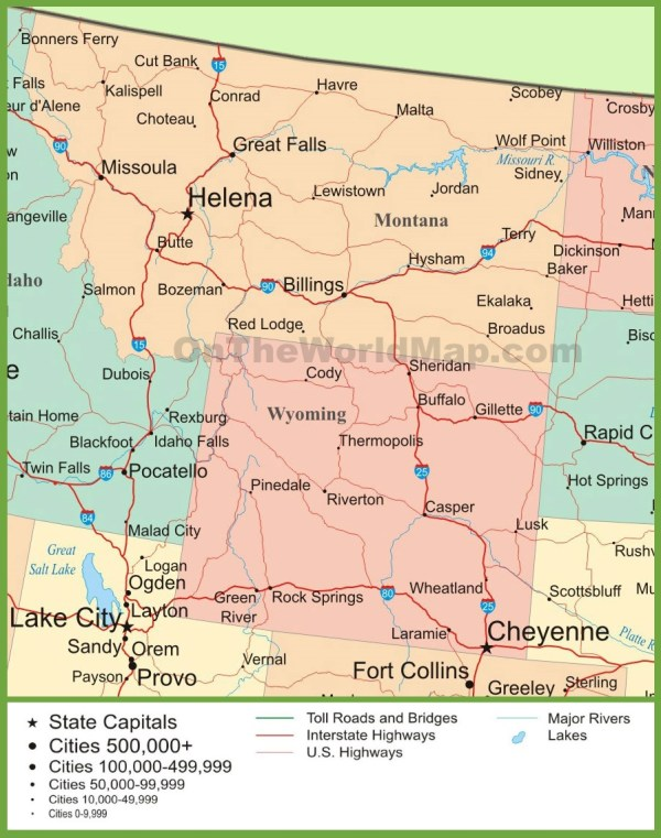Map of Montana and Wyoming
