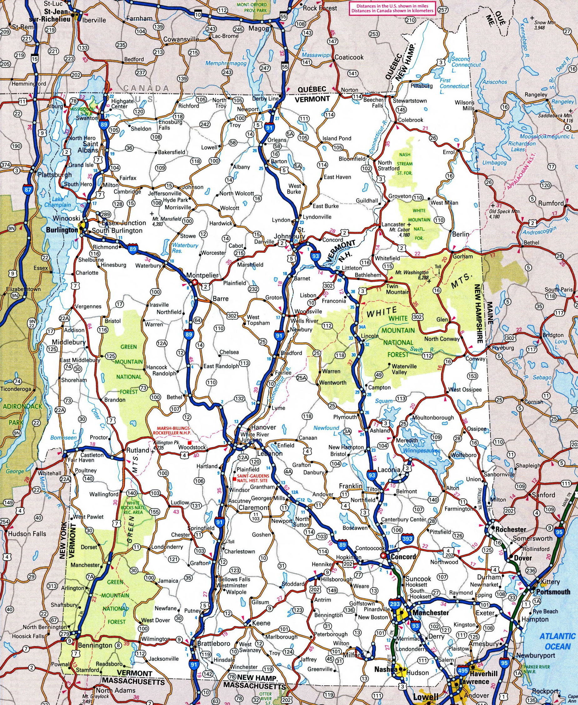 Map Of Vermont And New York