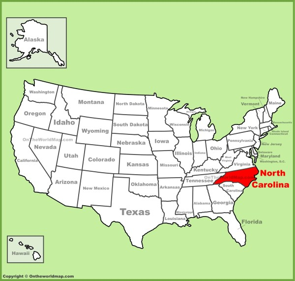 North Carolina location on the US Map