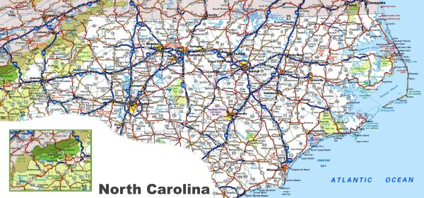 A Map Of North Carolina Smeka