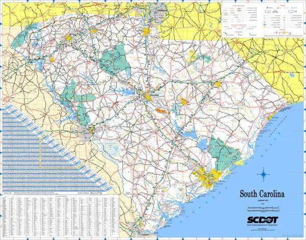 Large detailed tourist map of South Carolina with cities
