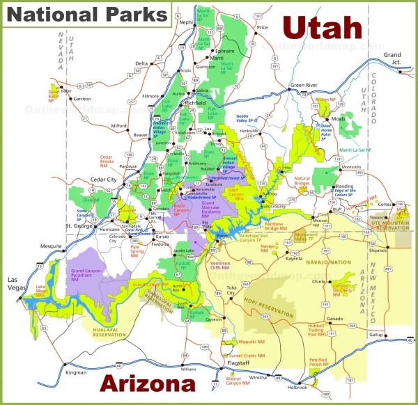 UtahArizona national parks map