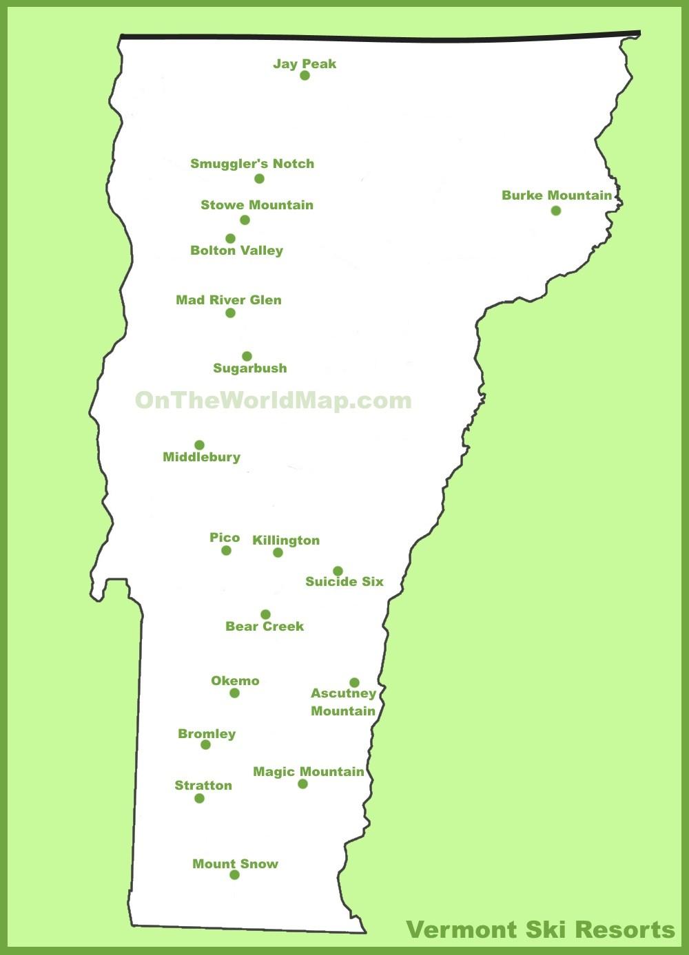 Vermont Ski Resort Map : vermont, resort, Vermont, Resorts