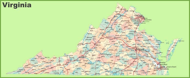 South Va Counties Map