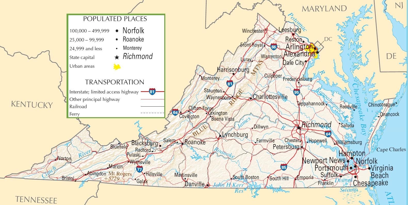 Virginia Highway Map