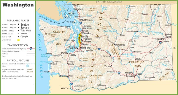 Washington highway map
