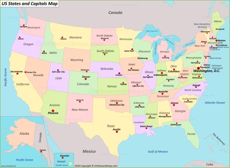 Go back to see more maps of usa  u.s. U S States And Capitals Map