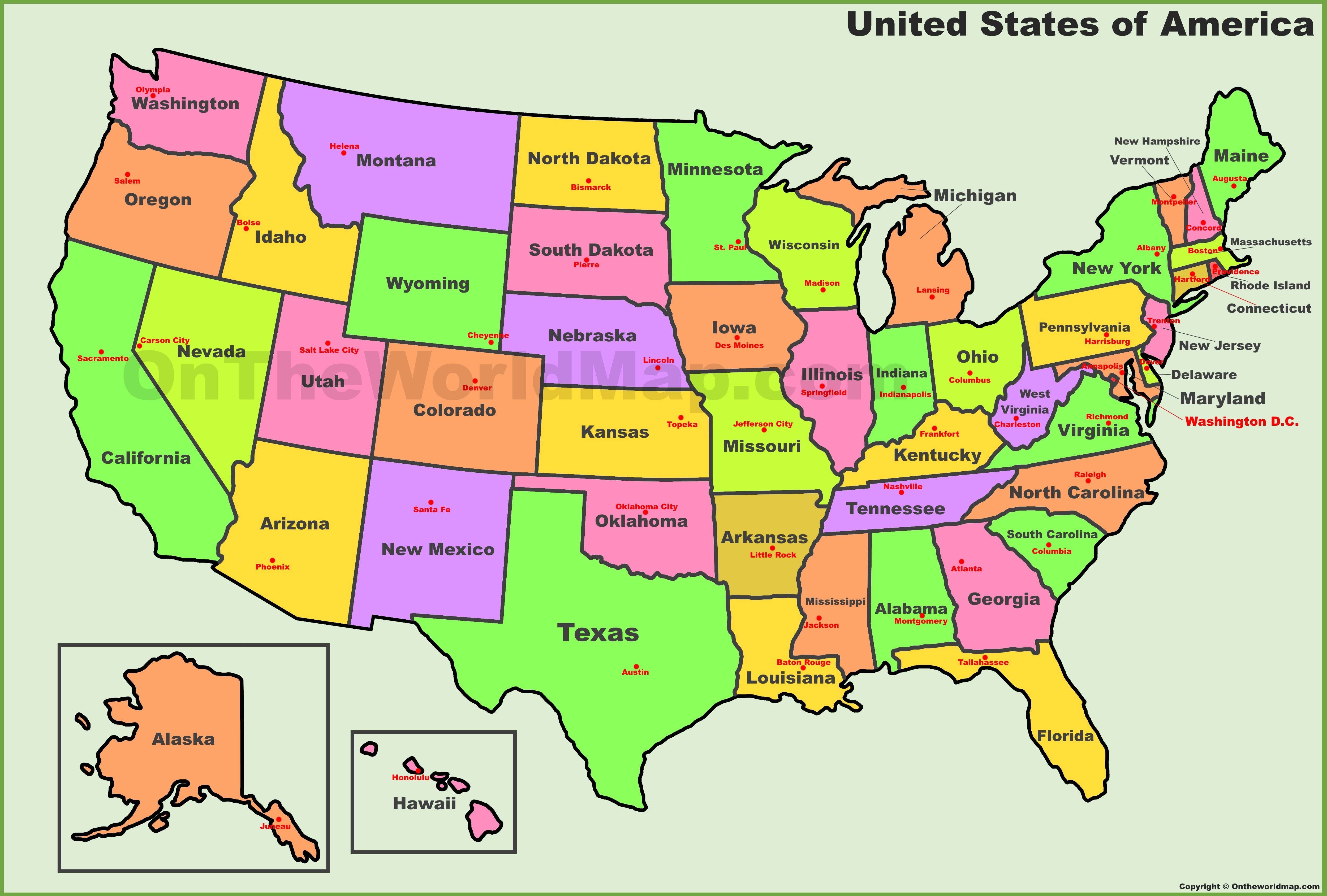 U S States And Capitals Map