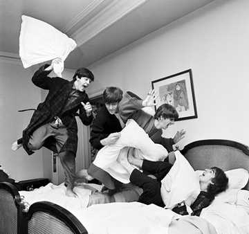 Harry Benson (1964) The Beatles' pillow fight at the George V Hotel, Paris