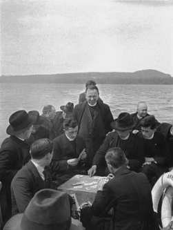 Frank Browne (1933) 'Card sharks'; priests' outing, Lough Gill, County Sligo.