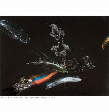 Micky Allan (2005) Emu Night. Pencil and pastel on paper 59.5cm x 84.5cm