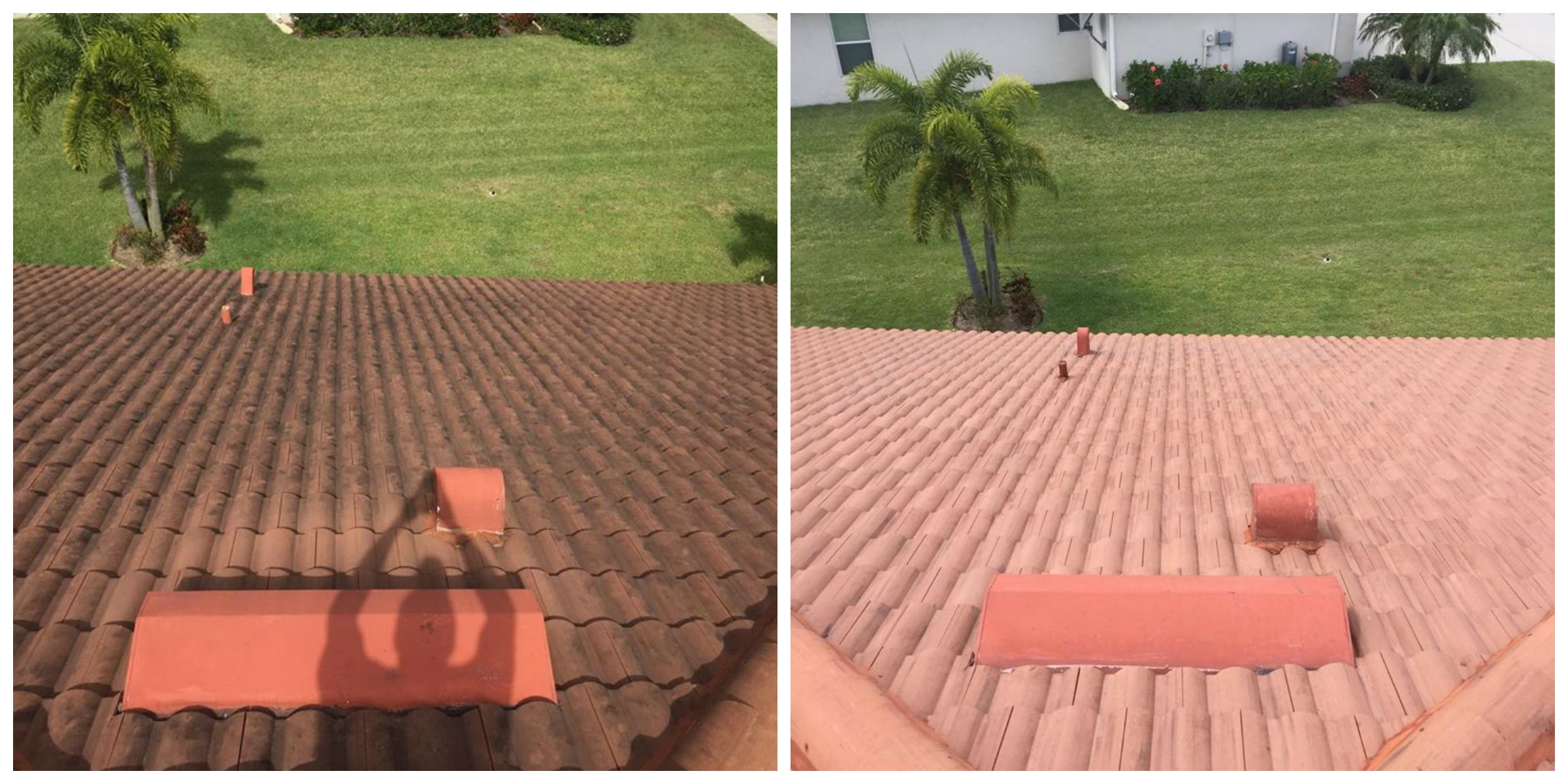 Roof Before And After On Time Pressure Washing Paver