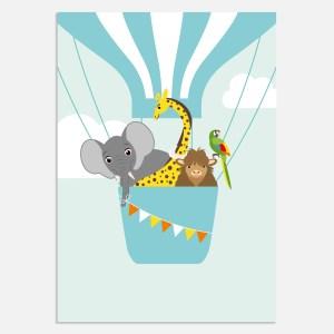 Deze poster is vrolijk in blauw met illustratie dieren. Mooie poster voor kinderkamer en babykamer.