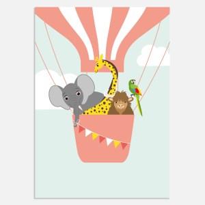 Deze poster is vrolijk in roze met illustratie dieren. Mooie poster voor kinderkamer en babykamer.