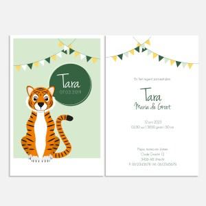 Dit geboortekaartje met een tijger in mintgroen stelt jullie kleintje feestelijk aan de wereld voor.