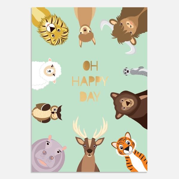 Een mooi en vrolijk verjaardagskaartje voor een kind met goudfolie quote: oh happy day.