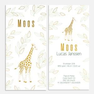 Dit geboortekaartje met foliedruk heeft een klassieke uitstraling. Met giraffe in goud.