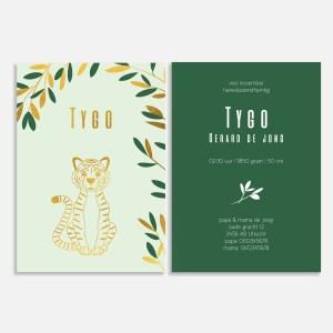 Dit geboortekaartje met foliedruk heeft een klassieke uitstraling. Met tijger in goud.