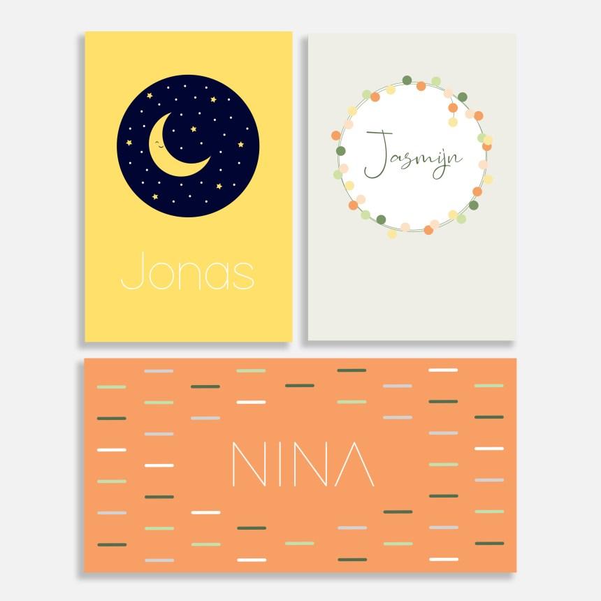 In deze collectie vind je: geboortekaartje maan, geboortekaartje bloemen, geboortekaartje grafisch.