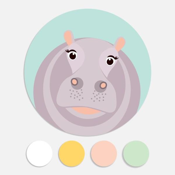 Een sticker voor een geboortekaartje maakt het totaalplaatje compleet. Deze sluitzegel past bij ee geboortekaartje nijlpaard.