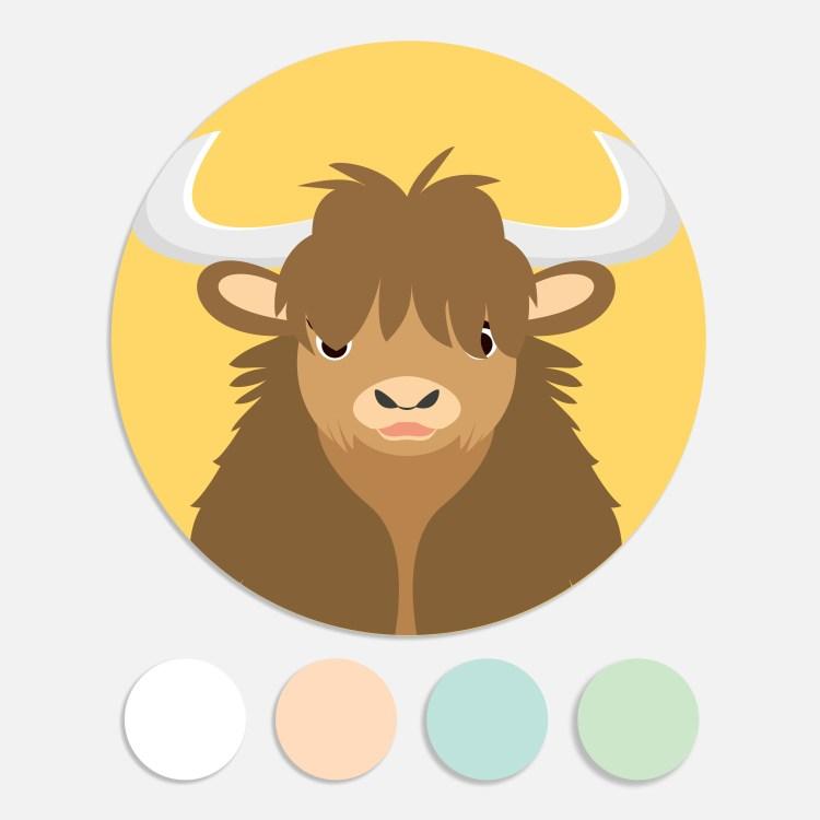 Een sticker voor een geboortekaartje maakt het totaalplaatje compleet. Deze sluitzegel past bij het geboortekaartje yak.