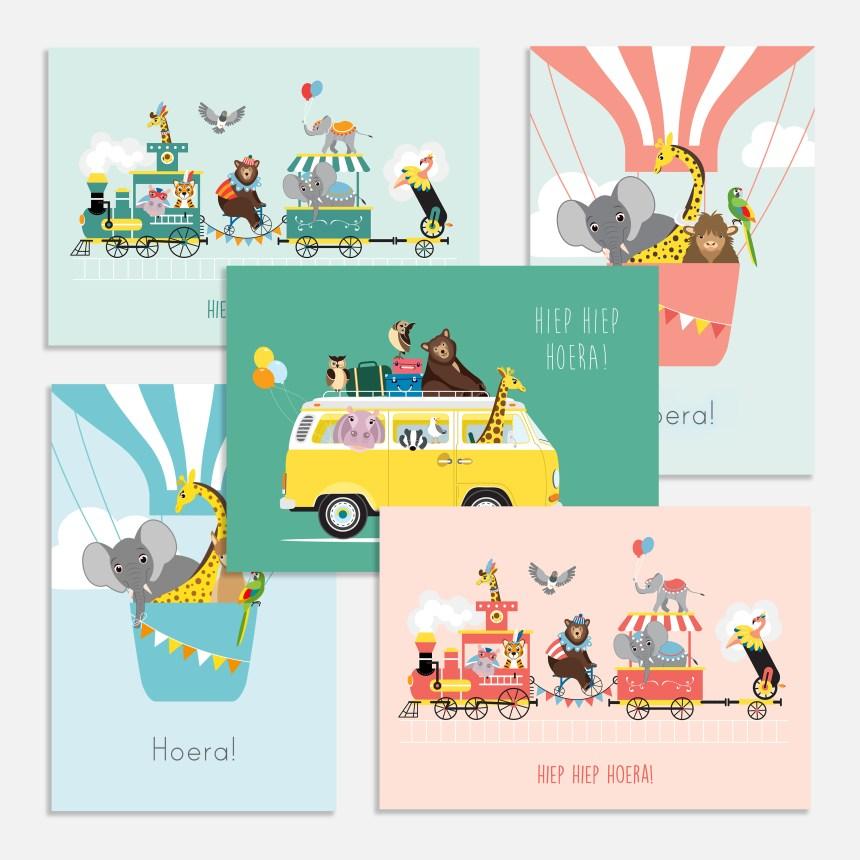 Verjaardagskaartje kind met 5 verschillende afbeeldeingen van vrolijke dieren.