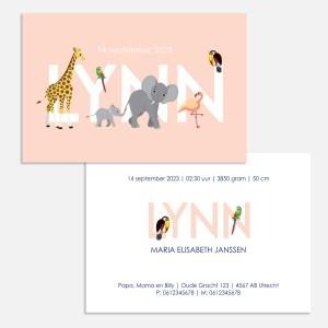 geboortekaartje jungle dieren roze meisje 10x15 cm